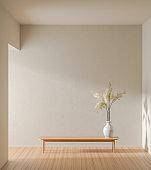 Empty wall mock up in moden style interior. Minimalist interior design. 3D illustration.