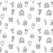 Drink icons seamless pattern grey vector on white background.