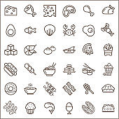 Set of Food Related Vector Line Icons. Stroke icons set