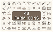 Set of 48 farm and agriculture Icons line style.