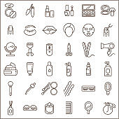 Set of beauty and cosmetic Icons line style.