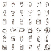 Set of drink and beverage related vector line icons