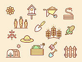 Vector illustration of a colorful farm and agriculture elements.