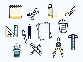 Vector illustration of a stationery and school supplies elements.