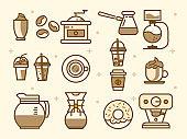 Coffee elements in flat design illustration.