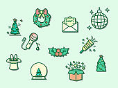 Vector illustration of a holiday and Christmas elements.