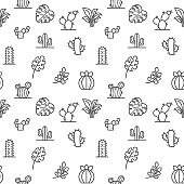 Plant icons seamless pattern grey vector on white background.