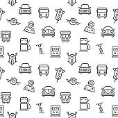 Transport icons seamless pattern grey vector on white background.