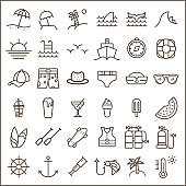Set of Ocean and Beach Vector Icons.