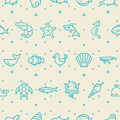 Under the sea seamless pattern vector.