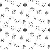 Simple Set of farm and agriculture seamless pattern grey vector on white background.