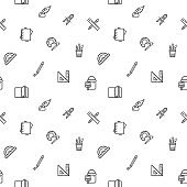 Simple Set of stationery and education seamless pattern grey vector on white background.