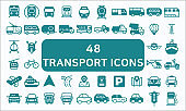 Set Of 48 Transport Related Vector Solid Icons.