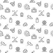 travel icons seamless pattern grey vector on white background.