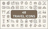 Set of 48 travel and to tour Icons line style.