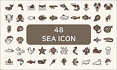 Set of 48 sea life and ocean Vector Icons.solid style.