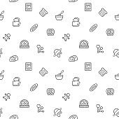 Seamless pattern with bakery and bread icon on white background.