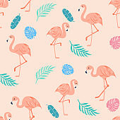 Pink flamingo palm leaves seamless pattern.