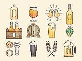 Set of beer glass, mug, barrel, bottle, and hop.