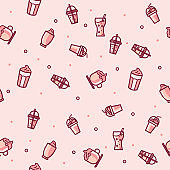 Vector seamless pattern with drink and beverage.