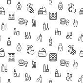 beauty icons seamless pattern grey vector on white background.