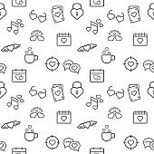 Love icons seamless pattern grey vector on white background.