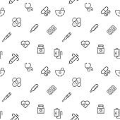 Simple Set of medical and hospital seamless pattern grey vector on white background.