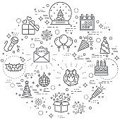 Simple Set of party and holiday Related Vector Line Illustration.