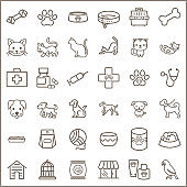 Simple Set of Pet Related Line Icons.