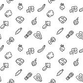 Vegetable icons seamless pattern grey vector on white background.