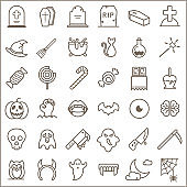 Simple Set of Halloween Related Line Icons.
