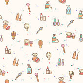 colorful beauty and cosmetic seamless pattern.