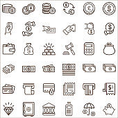 Set of Finance and Money Related Vector Icons.