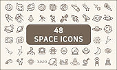 Set of 48 space and planet Vector Line Icons, thin line style.