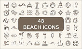 Set of 48 Ocean and Beach Vector Icons thin line style.