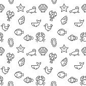 Sea Life icons seamless pattern grey vector on white background.