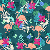 Tropical flamingo seamless pattern, vivid tropic foliage, with monstera leaf, palm leaves, flower in bloom. modern bright summer print design white background.