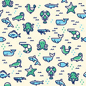 sea life seamless pattern with illustration of fish, seal, whale, shark. Vector illustration for banner, web page, print media, advertisement.