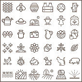 Set of farm and agriculture Icons line style.