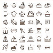 Set of bakery and dessert Icons line style.