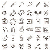 Set of medical and hospital Icons line style.