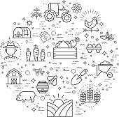 Simple Set of farm and agriculture Related Vector Line Illustration.