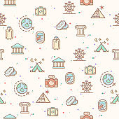 colorful travel and trip seamless pattern.