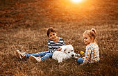 Girls having good time with albai dog