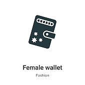 Female wallet vector icon on white background. Flat vector female wallet icon symbol sign from modern fashion collection for mobile concept and web apps design.
