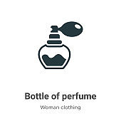 Bottle of perfume vector icon on white background. Flat vector bottle of perfume icon symbol sign from modern woman clothing collection for mobile concept and web apps design.