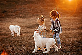 Girls playing with dog