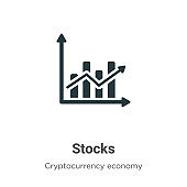 Stocks vector icon on white background. Flat vector stocks icon symbol sign from modern cryptocurrency economy and finance collection for mobile concept and web apps design.