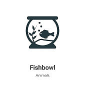 Fishbowl vector icon on white background. Flat vector fishbowl icon symbol sign from modern animals collection for mobile concept and web apps design.
