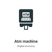 Atm machine vector icon on white background. Flat vector atm machine icon symbol sign from modern digital economy collection for mobile concept and web apps design.